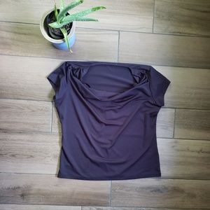 Calvin Klein black drapey neck blouse top L